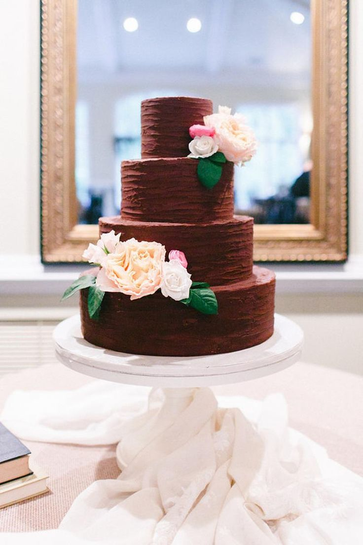 chocolate wedding cake tiered-- swap the flowers for smaller ones or something else