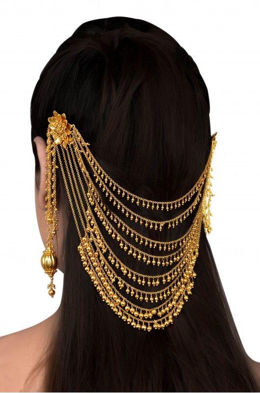 Silver Gold Plated Multi Tassel Flower Hair Harness