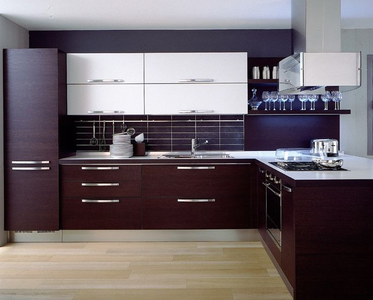 A modern l shaped kitchen design with walnut cabinets for Contemporary l shaped kitchen designs