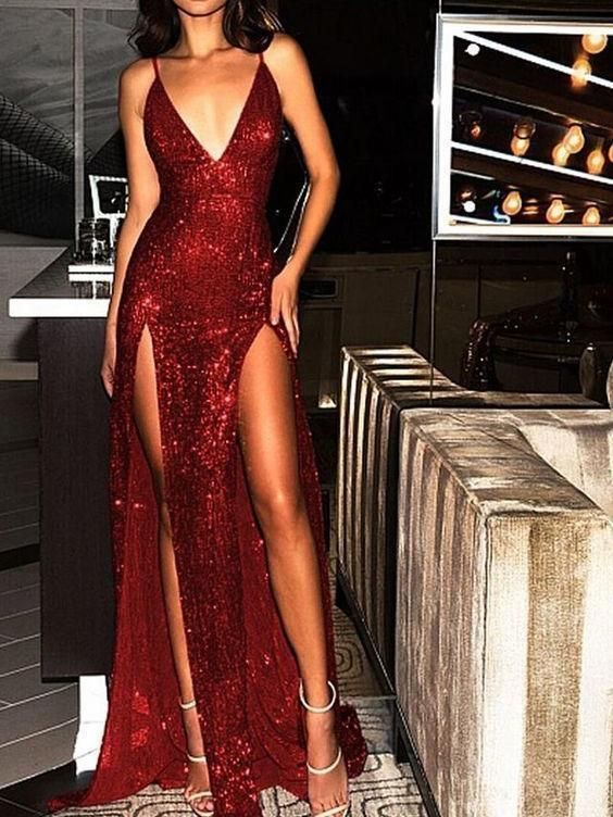 Sparkly Prom Dresses Burgundy V-neck Long Prom Dress with Slit Sexy Evening 3