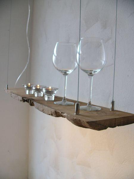 Hängelampe Treibholz Hängeleuchte Holz inkl. Leds von PeKa- Ideen auf DaWanda.com