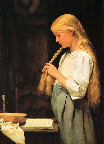 (Young Girl Braiding Her Hair)  Albert Samuel Anker (1831 - 1910, Swiss)