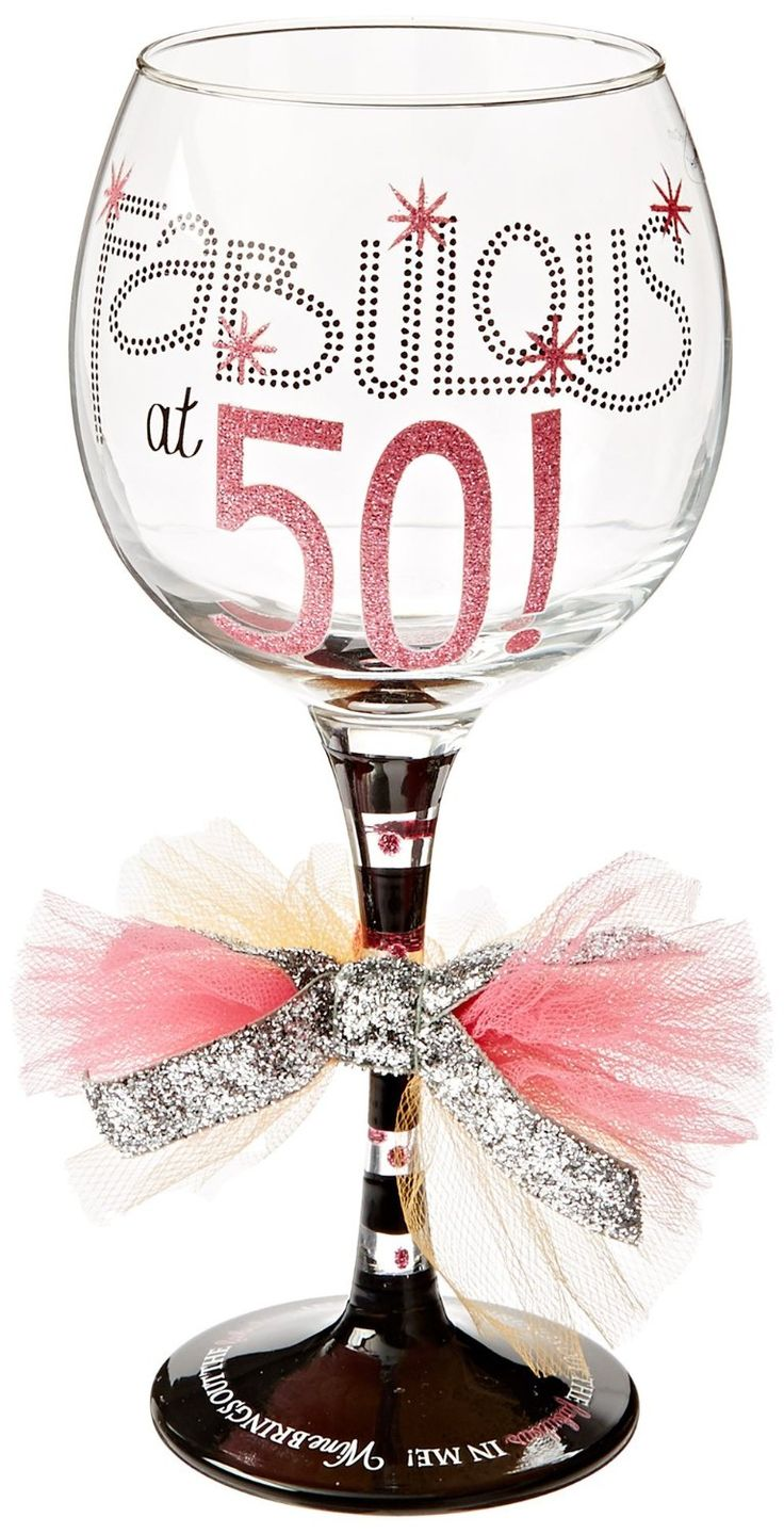 Fabulous at 50 wine glass. See more 50th birthday gag gifts and party ideas at www.one-stop-party-ideas.com