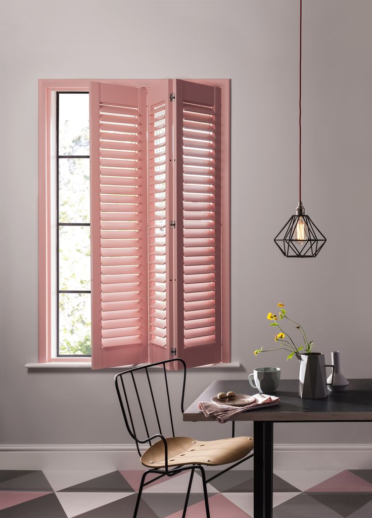 Coral and grey - the perfect contemporary kitchen colour palette #shutters #coral. See more inspiration on our website - http://clementbrowne.co.uk