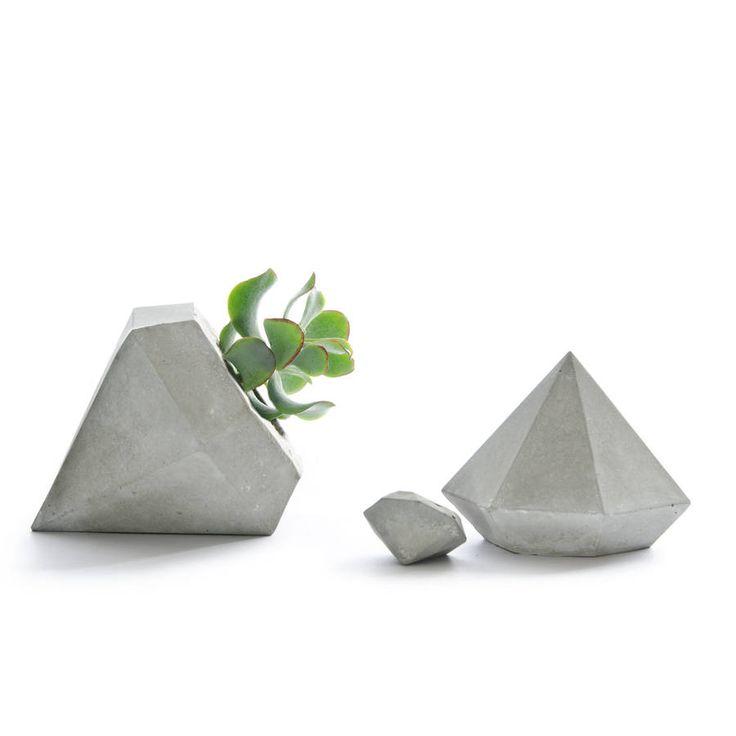 concrete diamond planter set by pasinga | notonthehighstreet.com