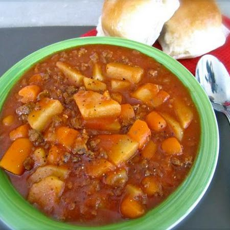Ground Beef Stew I'll use real onions, tomatoes and garlic though instead of the powdered crap.