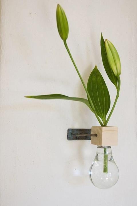 Florero bombilla de pared/ Wall bulb vase #recycle design