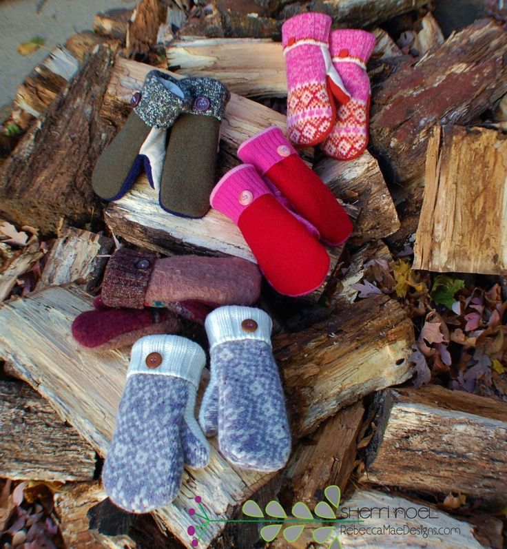 felted wool mittens from sweaters~ lined with fleece by ...