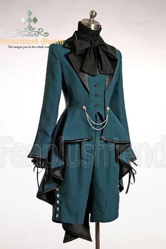 Elegant Gothic Aristocrat Irremovable Vest Ball Wavy Tuxedo Jacket*3colors Instant Shipping