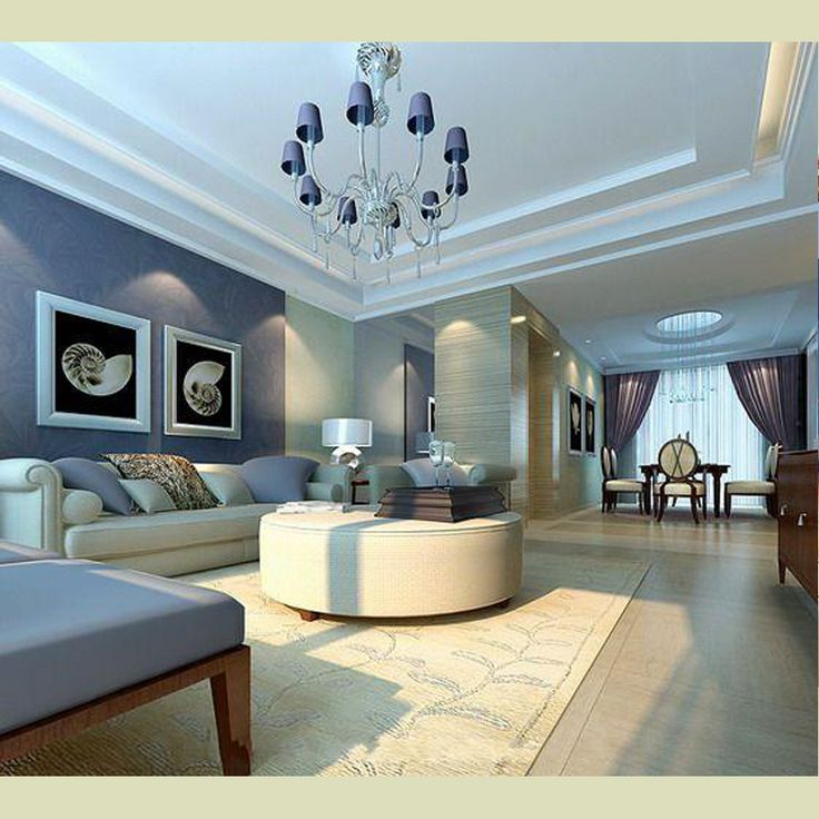 Magnificent Living Room Paint Idea With Blue Floral Wallpaper Decor And White Ceiling Classy