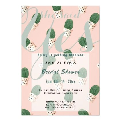 Succulents Bridal Shower Cacti Invites PINK Green - invitations personalize custom special event invitation idea style party card cards