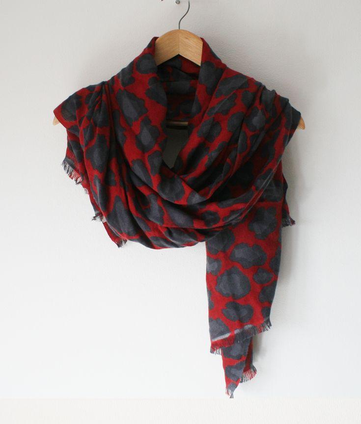 Duck Soup London | Luxury Cashmere Online | Scarlet Red Leopard Cashmere Scarf