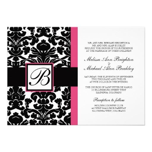 wedding invitation hot pink monogram cheap wedding invitations kits