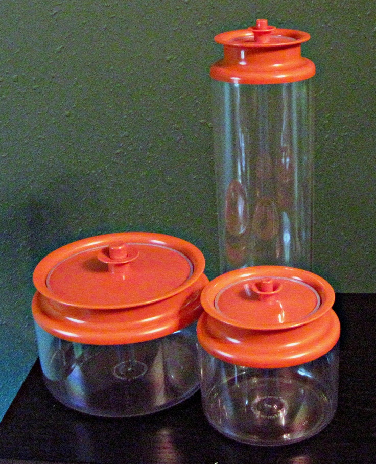 Vintage TUPPERWARE Set of 3 Clear Plastic Canisters w/ Orange Push Button Lids | eBay
