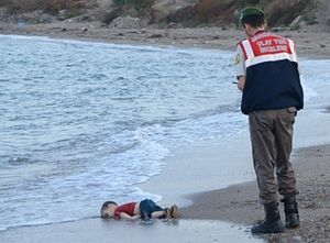 Alan Kurdi, 3, refugee of the Syrian war, from Kobani... mother and brother died also, washed up on the beach in Turkey today.