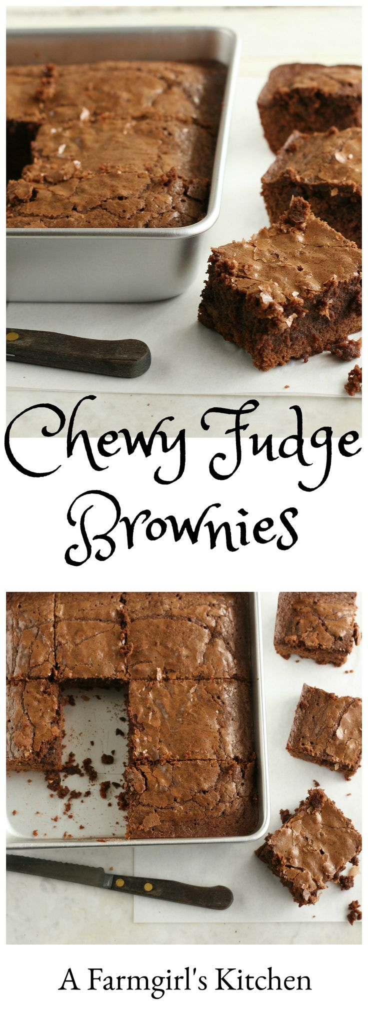 Chewy Fudge Brownie #recipe http://afarmgirlskitchen.com/chewy-fudge-brownies/