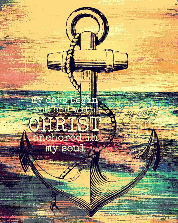 Anchor in Christ. Religious Faith Nautical Decor Choose Lustre Print, Canvas or Bamboo Mount