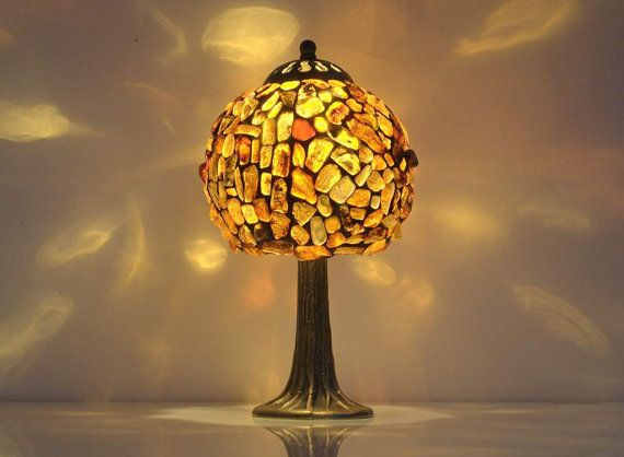 Table lamp 6 shade hand made of natural baltic amber 12 height