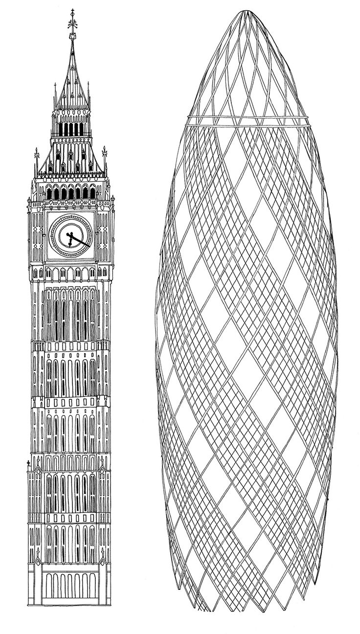 Crabtree and Evelyn The Gherkin and Big Ben illustration Jitesh patel
