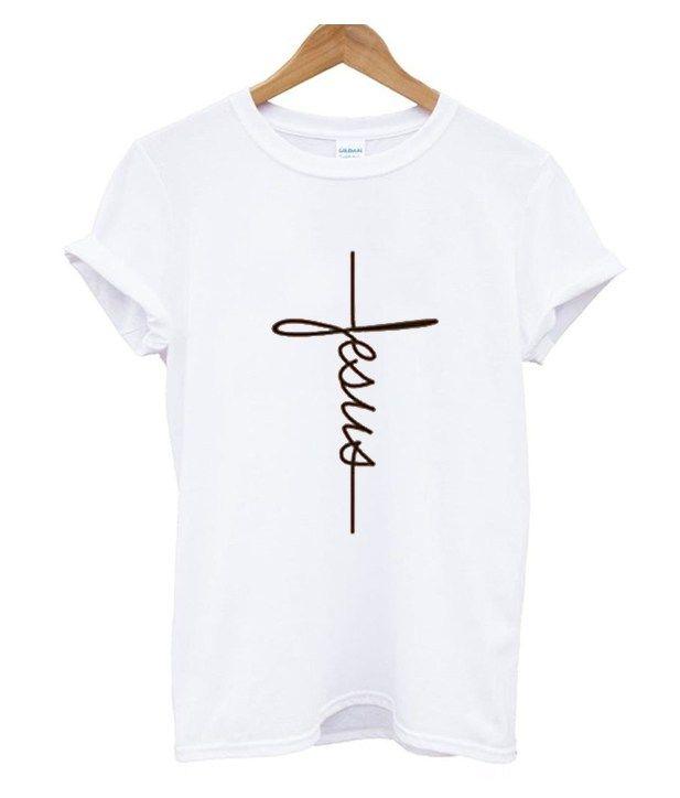 68a13bdeae10 Jesus Cross Religion White T-Shirt Size S