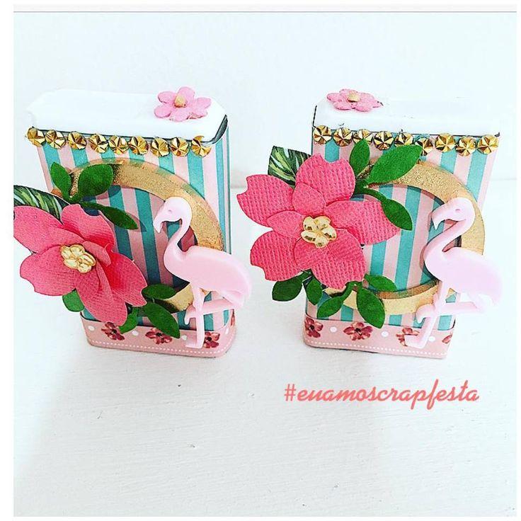 tic tac decorados com papéis tema flamingos