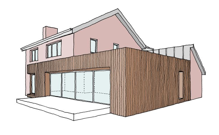 This is a concept for a contemporary extension to a traditional 1980's dwelling in Gosforth, Newcastle upon Tyne. The brief for the scheme is to overhaul the entire property to make it more practical for modern living, whilst not changing the front elevation of the house. The new architecture introduces a huge 7.5 metre wide sliding window to the new open plan living space, which will reconnect the house to the vibrant garden and provide interesting views over the allotments beyond.