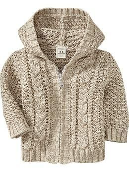hooded cable knit sweater for baby! imagining it with dark brown courds. . . [