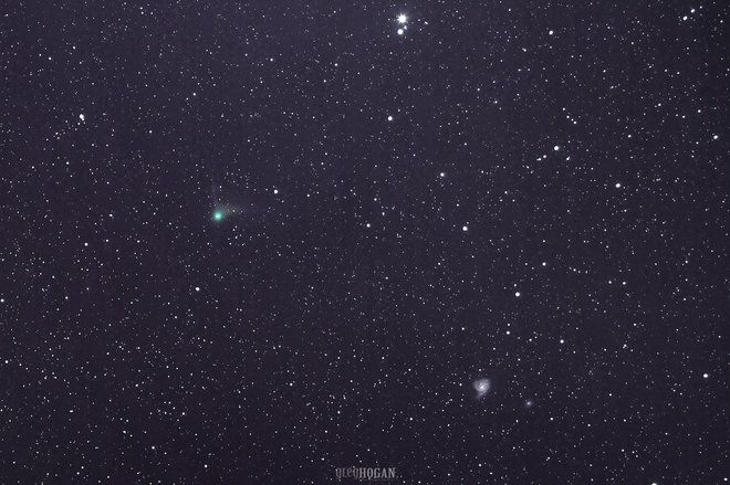 Comet Catalina and the Pinwheel Galaxy Caught in Stargazer's Photo