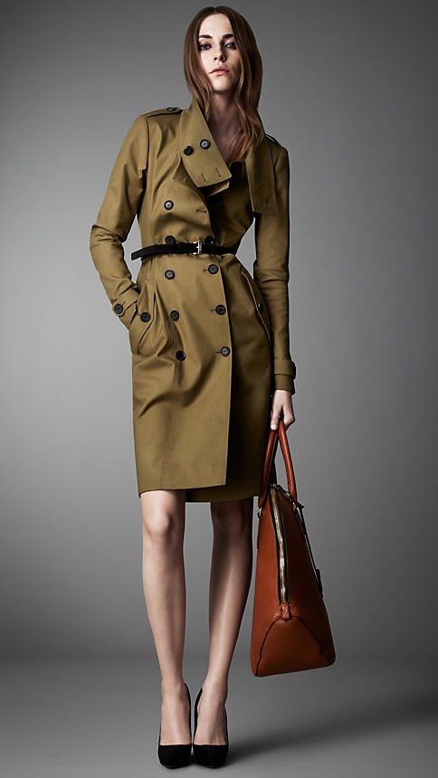 Long Cotton Gabardine Dropped Funnel Neck Trench Coat | Burberry