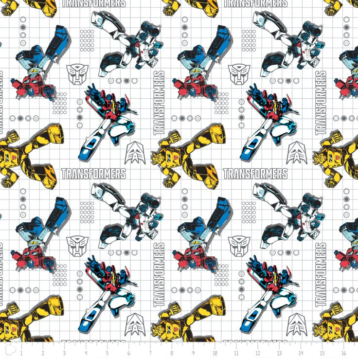 Transformers Fabric by the yard / Poses on Grid in White / Camelot Design Studio - Hasbro 95020003 #1 / Transformer Yardage & Fat Quarters by SewWhatQuiltShop on Etsy