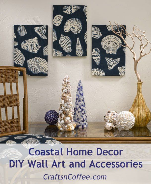 This wall art is super easy and made in less than an hour! Tutorials for the Seashell & Sea Glass Crafts, too. All on CraftsnCoffee.com.