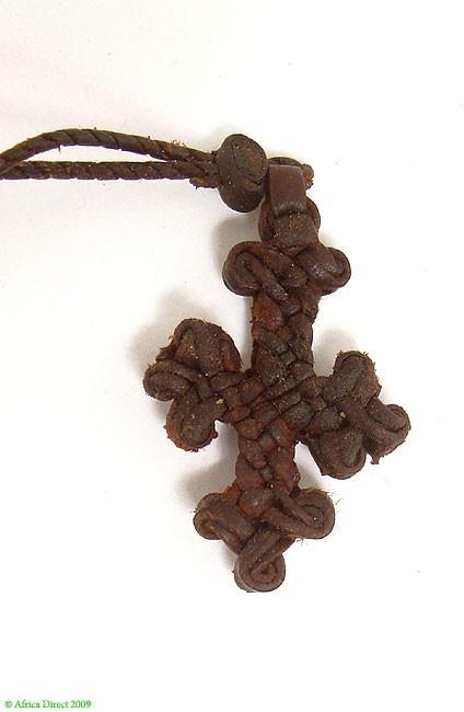 Ethiopian Leather Cross Pendant Necklace African