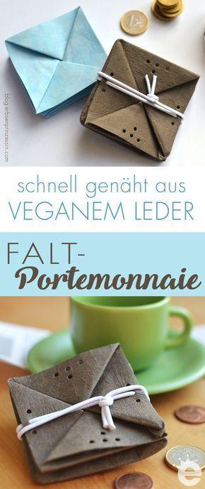 Mini-Portemonnaie für die Hosentasche aus veganem Leder nähen, super als schnelles Geschenk, auch für Kinder #snappap #schnittmuster #geldbeutel #nähanleitung #nähen