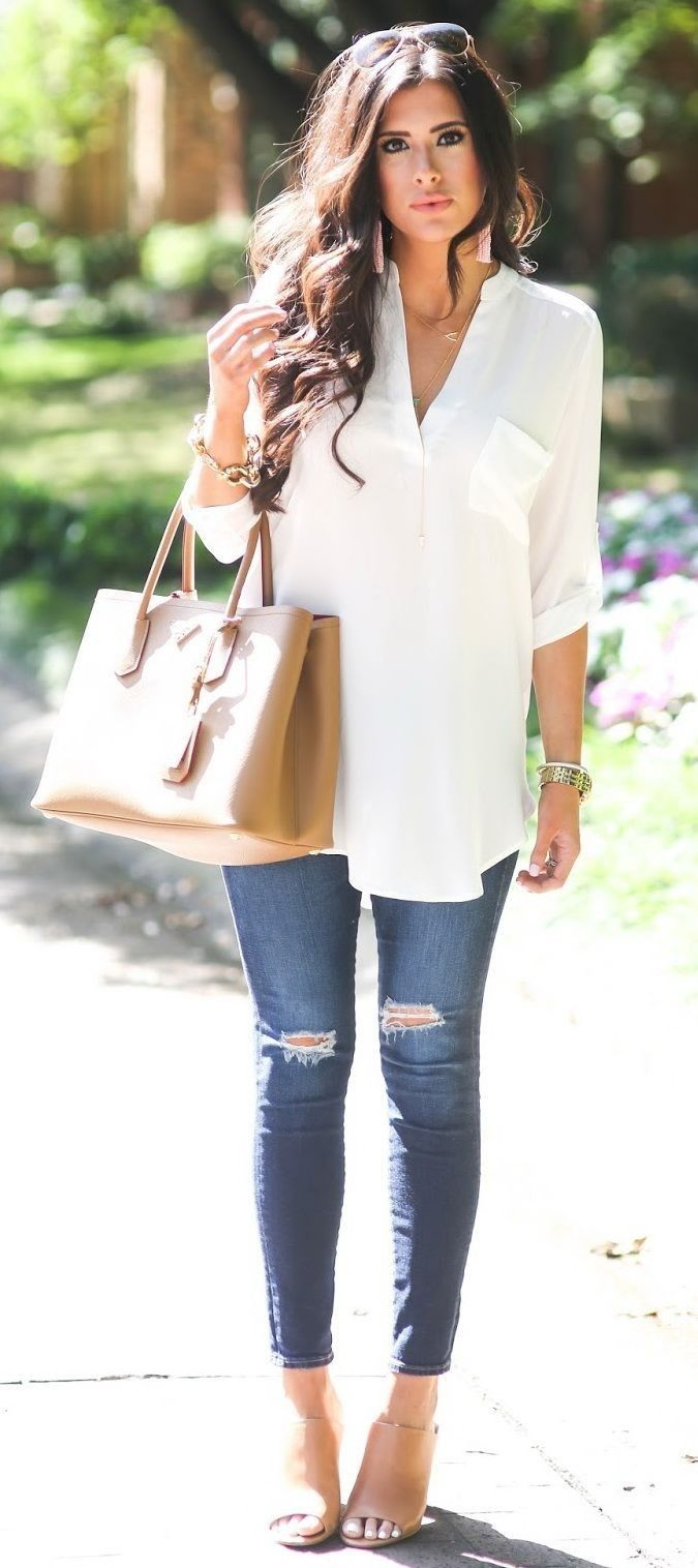 #popular #street #style #outfits #spring #2016 | White + Denim