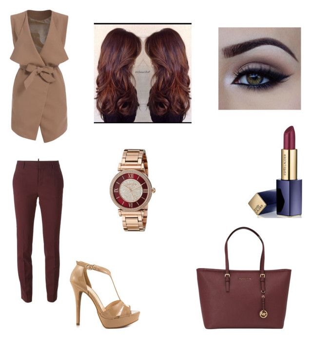 """""""dinner after work with red wine"""" by stellast on Polyvore featuring Dsquared2, Jessica Simpson, MICHAEL Michael Kors, Estée Lauder and Michael Kors"""