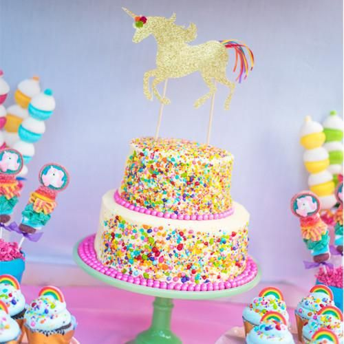 Add the final touch to your birthday cake with our Unicorn Cake Topper! It is handmade with gold glitter cardstock and gorgeous satin ribon. It coordinates wit
