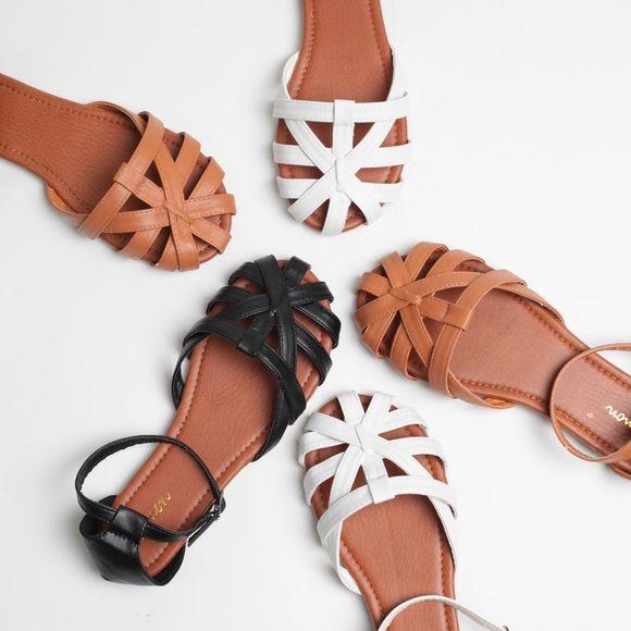 185ea0dc470d Cognac Faux Leather Huaraches Sandal Flats Cognac Faux Leather 2 Piece Flat  Sandals