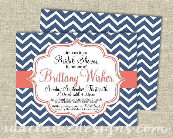 Bridal Shower Invitation Digital Download   Chevron   IdaClaireDesigns.com