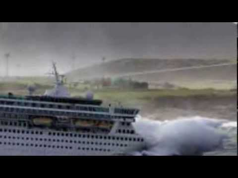 Various Passenger Ships In Stormy Seas  Ocean Liners And
