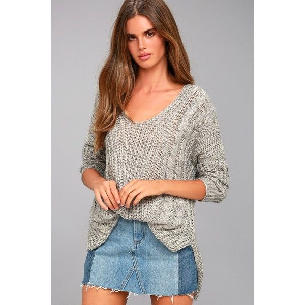 Lulus  Cuddle-Worthy Grey Knit Sweater ($46) ❤ liked on Polyvore featuring tops, sweaters, grey, v neck cable knit sweater, v-neck sweater, grey knit sweater, loose-knit sweaters and cable knit sweater