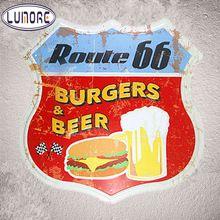 Route 66 Bier & Hamburgers Vintage Tin Plaques Art Poster Muur Decor Metalen Schild Restaurant Bar Koffie Cafe Muur Schilderijen(China)