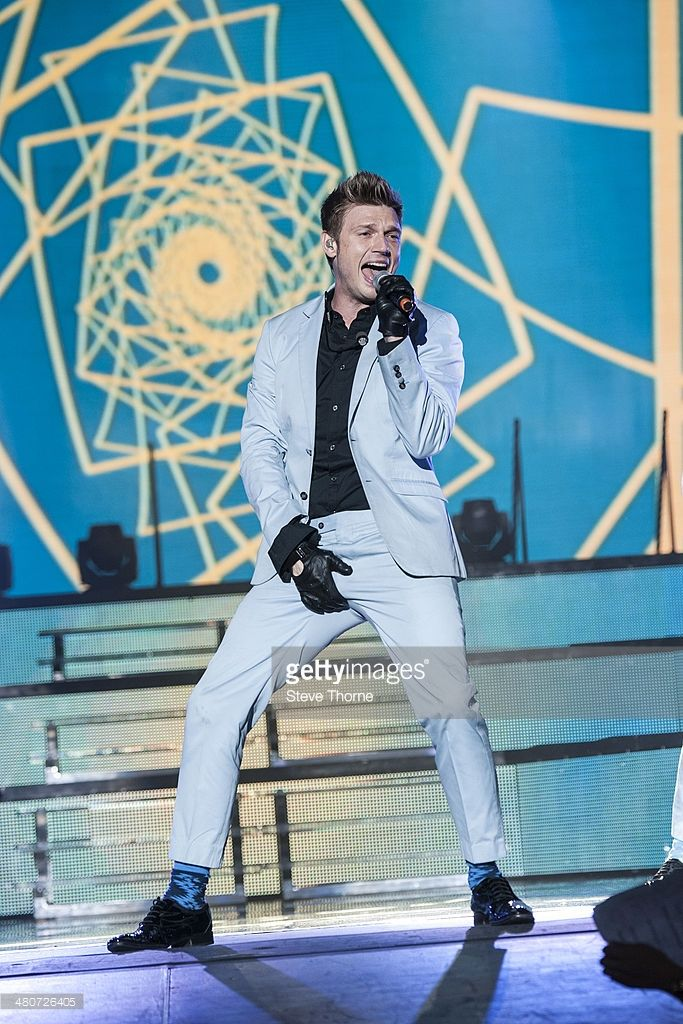 Nick Carter of Backstreet Boys performs on stage at LG Arena on March 26, 2014 in Birmingham, United Kingdom.