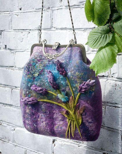 """Авторская женская сумочка-ридикюль """"Там, где цветёт лаванда..."""" - валяная сумка ♡"""