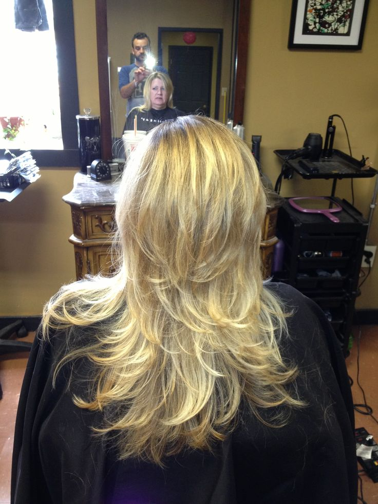 Short layers on long hair. Cut by R. Dempsey