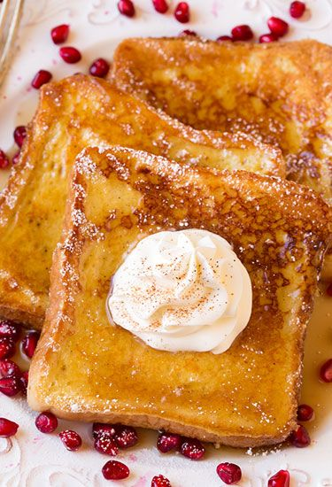 Eggnog French Toast: A batter of eggnog, eggs, nutmeg, and rum extract turns ordinary French toast into a uniquely delicious treat.