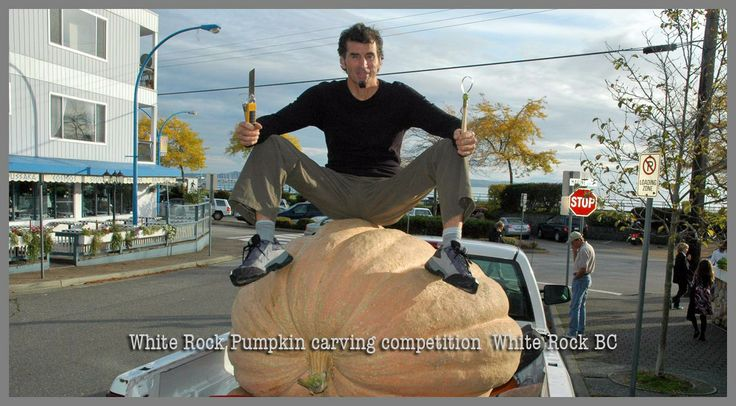 Giant pumpkin carving in White Rock BC Canada