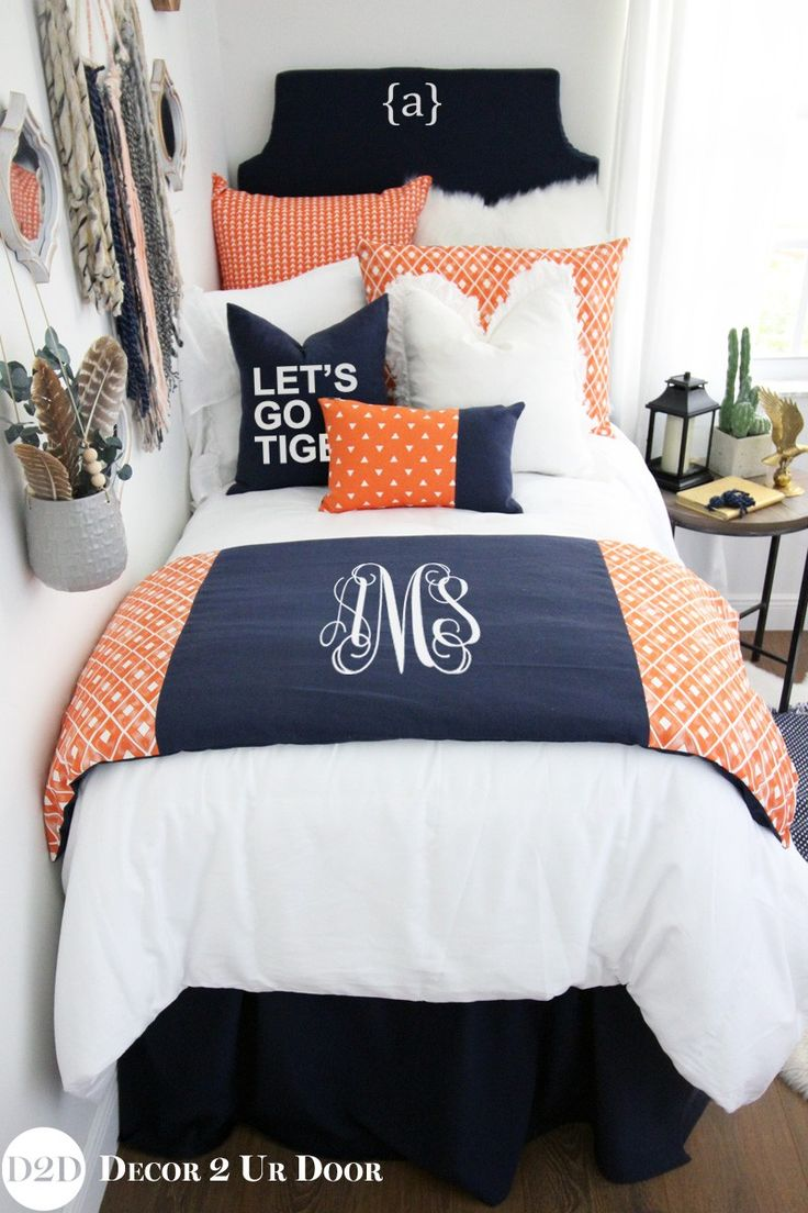 Auburn University Tigers Navy & Orange Designer Dorm Bedding Set