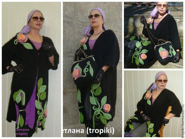 """Купить Пальто """" Виола-3"""" ручное авторское вязание - черный, женская одежда…"""