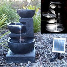 Bon Solar Panel Powered 3 Tiers Water Feature Fountain LED Light Garden Outdoor