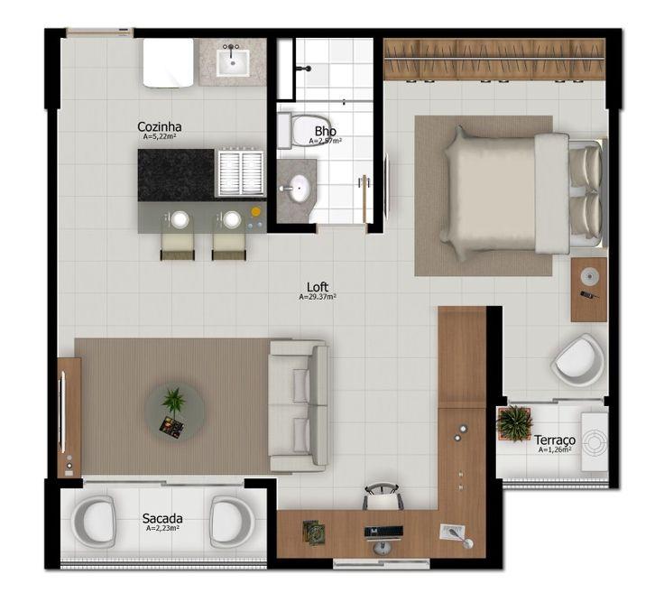 Projeto apartamento pequeno loft planta - Loft pequeno ...
